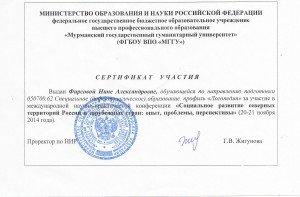 Сертификат участия в международной конференции